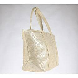 Vintage Reign 'Kiki' Ivory Embossed Leather Tote Bag