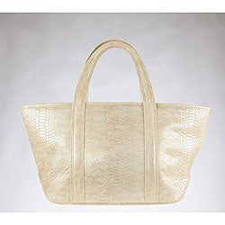 Vintage Reign 'Kiki' Ivory Embossed Leather Tote Bag
