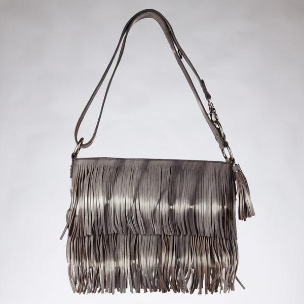 Vintage Reign 'Amanda' Grey Tie-dye Fringe Crossbody Bag