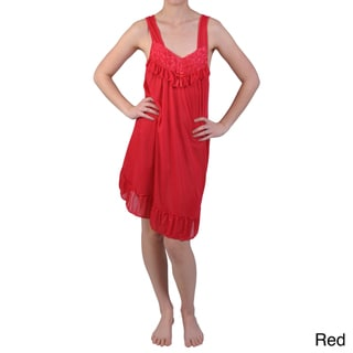 Journee Collection Women's Rosette Accent Satin Nightgown