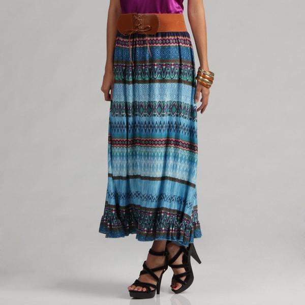 Meetu Magic Mixed Print Turquoise Maxi Skirt