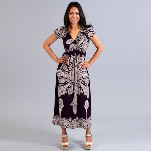 Meetu Magic Women's Purple/ White Maxi Dress