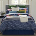EverRouge Royal Blue Floral 8-piece Queen Cotton Comforter Set