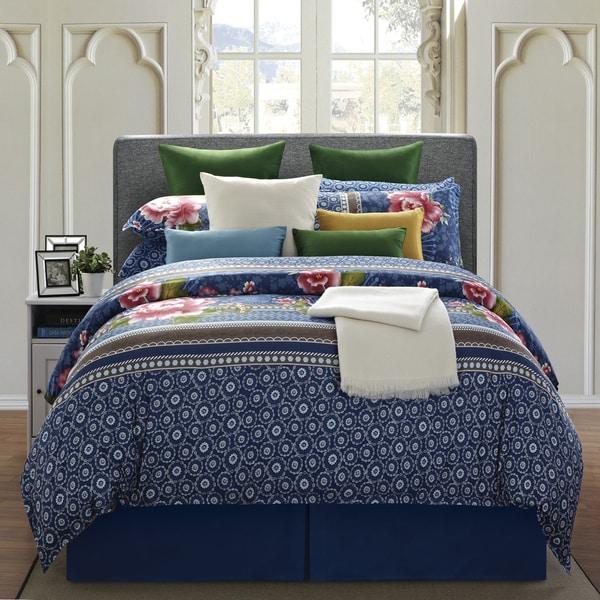 EverRouge Royal Blue Floral 8-piece King Cotton Comforter Set