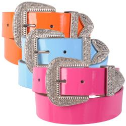 Journee Collection Women's Western Style Rhinestone Belt