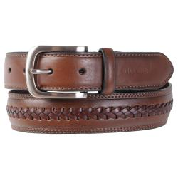 Tommy Hilfiger Men39;s Braid Detail Topstitched Genuine Leather Belt