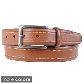 Nautica Men's Topstitched Feather Edge Genuine Leather Belt