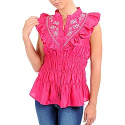 Stanzino Women's Plus Fuschia Embroidered Ruffle Bib Shirt
