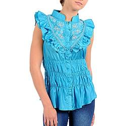 Stanzino Women's Blue Embroidered Ruffle Bib Shirt