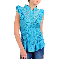 Stanzino Women's Plus Blue Embroidered Ruffle Bib Shirt