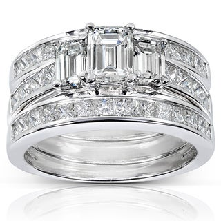 Annello 14k White Gold 2 1/2ct TDW Diamond 3-piece Bridal Ring Set (H-I, SI1-SI2)