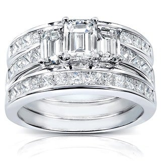Annello 14k White Gold 2 1/2ct TDW Diamond 3-piece Bridal Ring Set (H-I, SI1-SI2) with Bonus Item