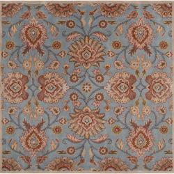 Hand-tufted Blue Kipper Wool Rug (6' Square)