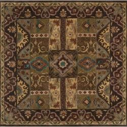 Hand-tufted Brown Kipper Wool Rug (6' Square)