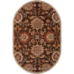 Hand-tufted Brown Kipper Wool Rug (6' x 9' Oval)