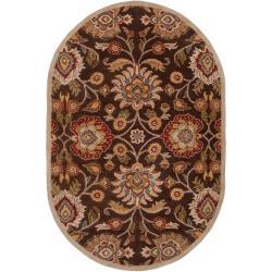 Hand-tufted Brown Kipper Wool Rug (8' x 10' Oval)