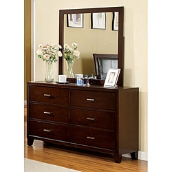 Furniture of America 'Sunjan' Brown Cherry Dresser with Mirror