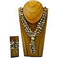 Neutral Melon Seed Necklace and Earring Set (Colombia)