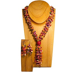 Pink Melon Seed Necklace and Earring Set (Colombia)