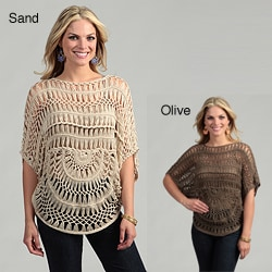 Elan Women's Handmade Dolman-sleeve Half-moon Crochet Top