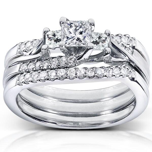 Annello 14k White Gold 7/8ct TDW Diamond 3-piece Bridal Ring Set (H-I, I1-I2)