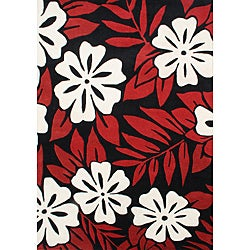 Alliyah Handmade Black/ Red Floral New Zealand Blend Wool Rug (5' x 8')