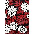 Alliyah Handmade Black/ Red Floral New Zealand Blend Wool Rug  (5' x 8')