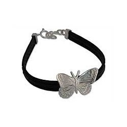 Sterling Silver 'Monarch Butterfly' Leather Bracelet (Mexico)