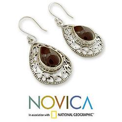 Sterling Silver 'Vivid Scarlet' Garnet Earrings (India)