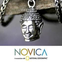 Sterling Silver Men's 'Smiling Buddha' Necklace (Indonesia)