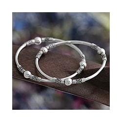 Set of 2 Sterling Silver 'Ubud Moons' Bangle Bracelets (Indonesia)