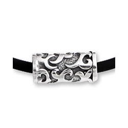 Sterling Silver Men's 'Tribal Scroll' Rubber Necklace (Indonesia)