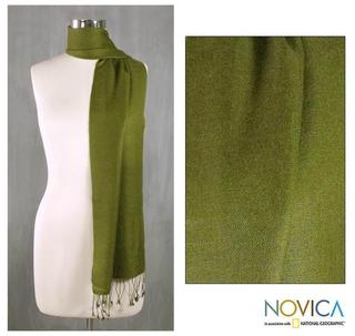 Wool and Silk Blend 'Kashmiri Olive' Scarf (India)