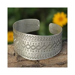 Sterling Silver 'Thai Constellations' Cuff Bracelet(Thailand)