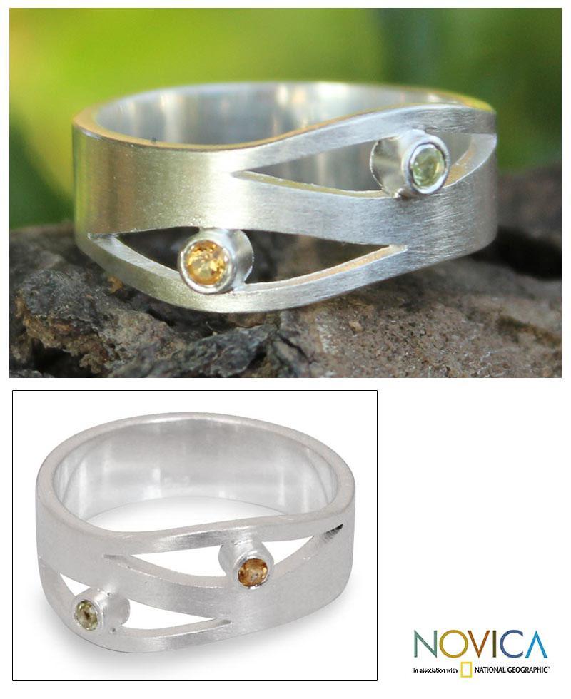Sterling Silver 'Revelations' Citrine Peridot Ring (Thailand)