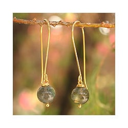 Gold Overlay 'Songkran Moon' Labradorite Dangle Earrings (Thailand)
