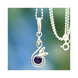 Sterling Silver 'New Growth' Amethyst Necklace (India)
