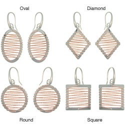 CGC Rose Gold and Sterling Silver Twisted Rope Design Geometric Earrings