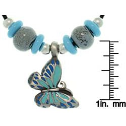 CGC Pewter Colored Enamel, Porcelain and Czech Glass Butterfly Necklace