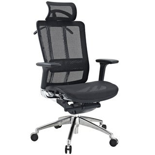 Future Black Leather and Mesh Office Chair with Headrest