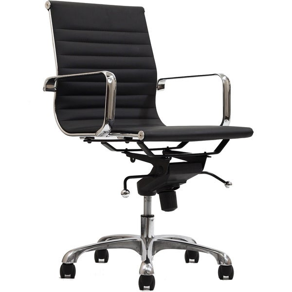 Malibu Mid-back Black Vinyl Office Chair