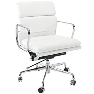 Mid-Back White Leather Conference Office Chair