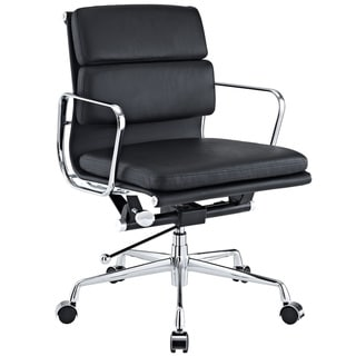 Mid-Back Leather Conference Office Chair in Black Genuine Leather