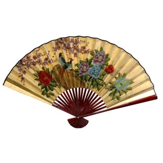 12-inch Wide Gold Leaf Birds and Peonies Fan (China)