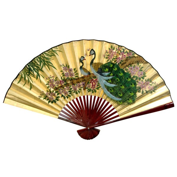 12-inch Wide Gold Leaf Peacocks Fan (China)