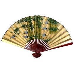 12-inch Wide Gold Leaf Bamboo and Cranes Fan (China)