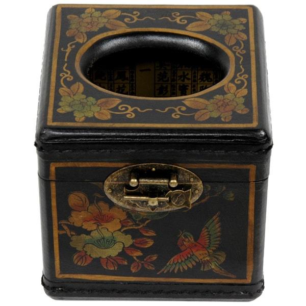 Black Lacquer Cube Tissue Box (China)
