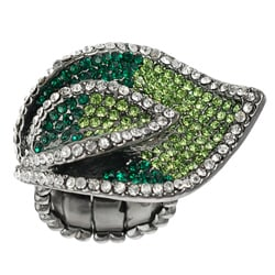 Journee Collection Rhodium-plated Steel Crystal Leaf Stretch Ring