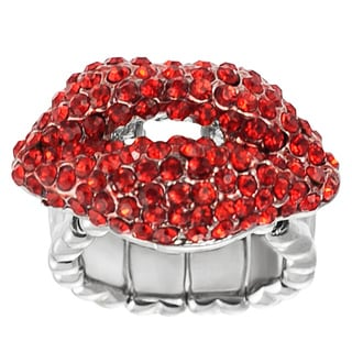 Journee Collection Stainless Steel Red Crystal Kiss Stretch Ring