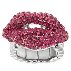 Journee Collection Stainless Steel Pink Crystal Kiss Stretch Ring